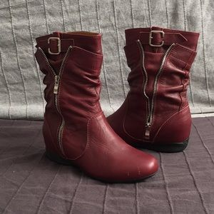 Shoes - Red leather boots size 7